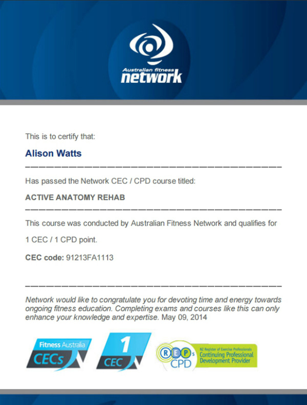 Active Anatomy Rehab CEC exam certificate by Australian Fitness Network