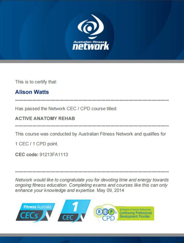 Active Anatomy Rehab CEC exam certificate by Australian Fitness Network