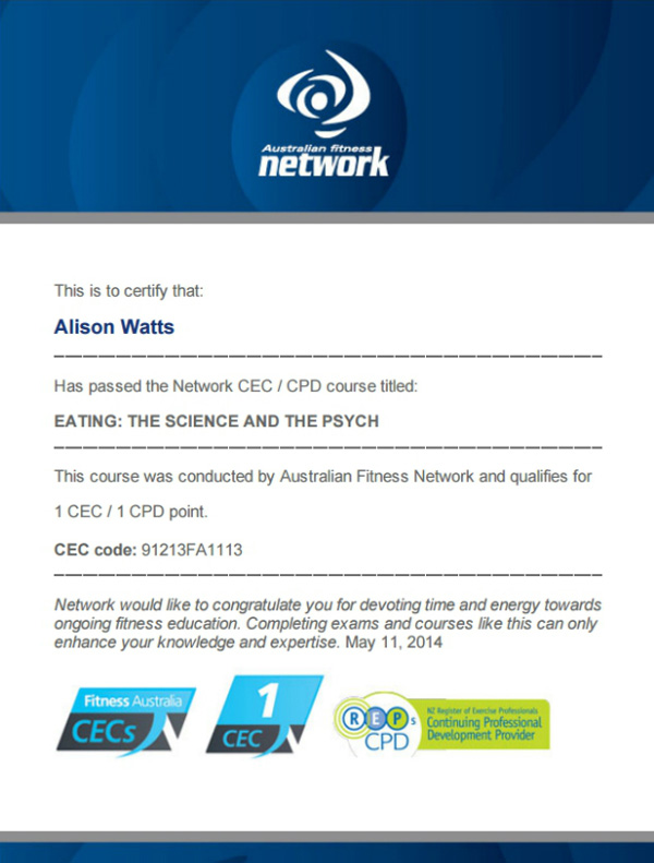 Eating the Science and the Psych CEC exam certificate by Australian Fitness Network