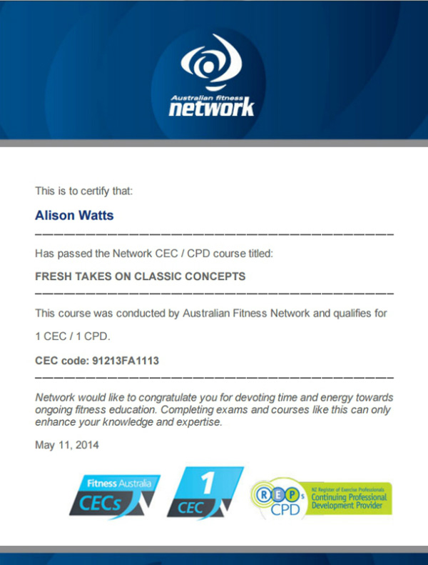Fresh Takes on Classic Concepts CEC course certificate by Australian Fitness Network