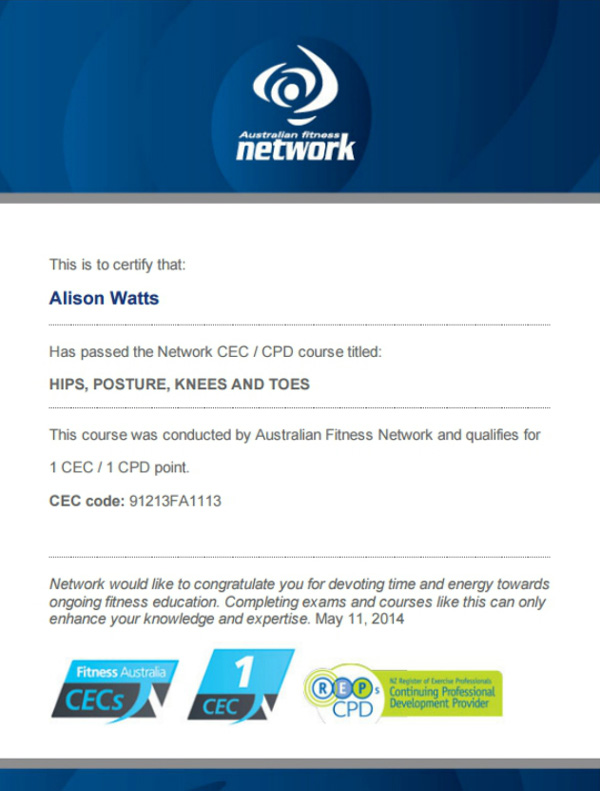 Hips Posture Knees and Toes CEC exam certificate by Australian Fitness Network
