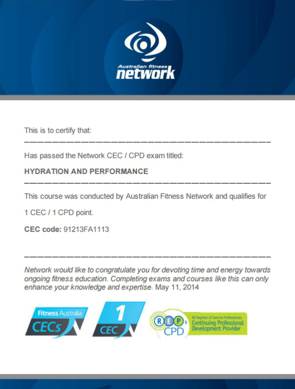 Hydration and Performance CEC exam certificate by Australian Fitness Network