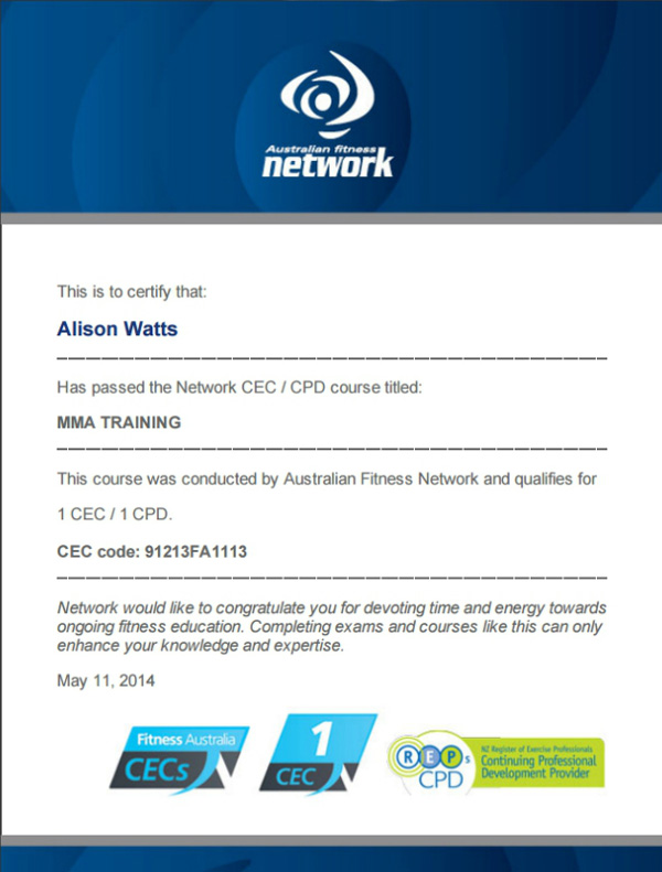 MMA Training CEC course certificate by Australian Fitness Network