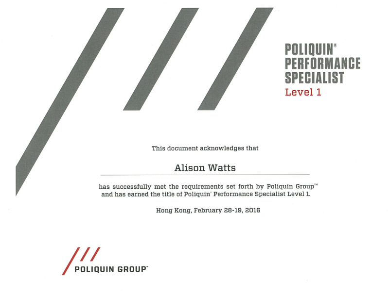 Poliquin Level 1 Certificate