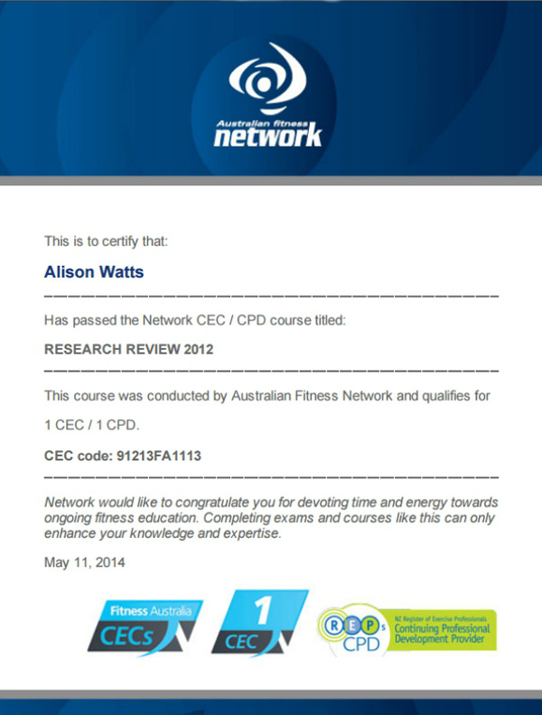 Research Review CEC course certificate by Australian Fitness Network