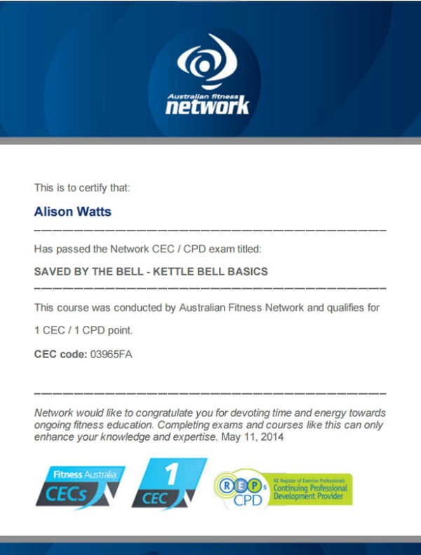 Saved by the Bell - Kettlebell Basics CEC exam certificate by Australian Fitness Network