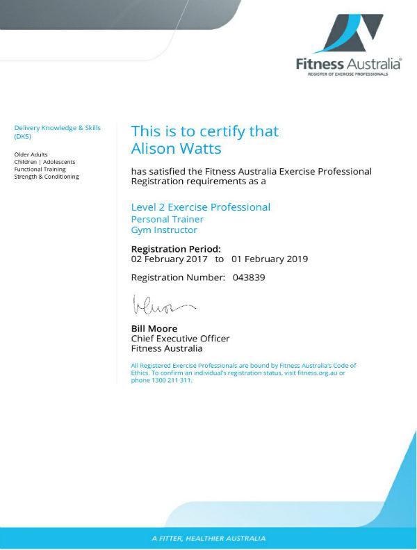 Certificate of Fitness Australia - Ali Watts