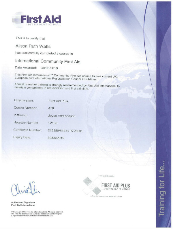 First Aid International Certificate - Ali Watts